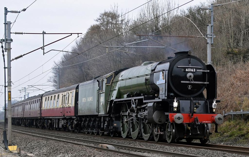 60163 Tornado, 5Z65, Carnforth, Fri 1 March 2019 1 - 1416.  The A1 heads for Steamtown on a loaded test run from the Wensleydale Railway.  It had run light to Ferryhill, where it met 37669 and its rake from Carnforth, then ran via Hexham and Shap with the 37 on the rear.