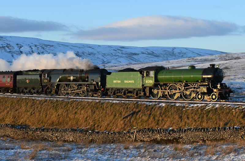 61306 Mayflower & 35018 British India Line, 1Z87, Ribblehead, Sat 2 February 2019 2.  The train had been booked for 35018 but the B1 had been added at its owner's request for a loaded test run, hence the hughly unusual loco combination.  86259 worked the train from Euston to Carnforth and Preston to Euston.  The 12 coaches were 80217, 99122 Alexandra, Pullman 99351 Sapphire, 99712, Pullman 99350 Tanzanite, 3136 Diana, 13320 Anna, buffet 99311, 4984, 5032  & 99304.