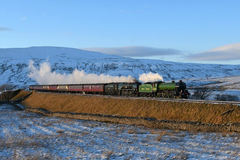 61306 Mayflower & 35018 British India Line, 1Z87, Ribblehead, Sat 2 February 2019 1 - 1625.  The Railway Touring Co's 1411 Carlisle - Preston - Euston Cumbrian Mountain Express.  It was 29 late having stopped at Blea Moor signal box to report on the icicles in Blea Moor Tunnel.  It had stopped at Kirkby Stephen and Garsdale for the same purpose earler.  The CME was the only train to run over the Settle & Carlisle today because of yet another Northern RMT strike.