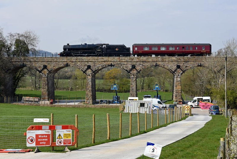 45212, 5Z78, Capernwray, Mon 15 April 2019 - 1435.  A poositioning move from the KWVR  (1300) to Steamtown crosses the viaduct.  The coach was 35508. 37518, 45212 & 45407 took the Jacobite ecs from Steamtown to Fort Wiliam the following day.
