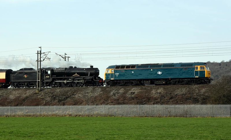 47614 (47853) & 45231 The Sherwood Forester, 5Z37, Carnforth, Thurs 14 February 2019 - 1147.   The support coach was 35431.