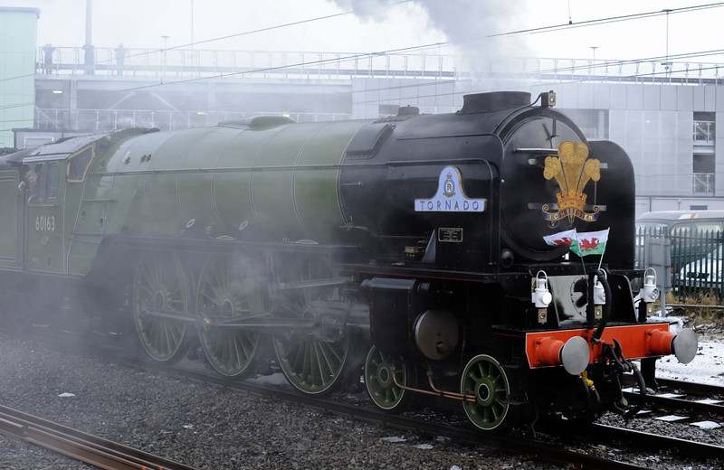 60163 Tornado, Preston, Thurs 4 February 2010 4 - 0844.  The train ran to Manchester via Wigan and Eccles.