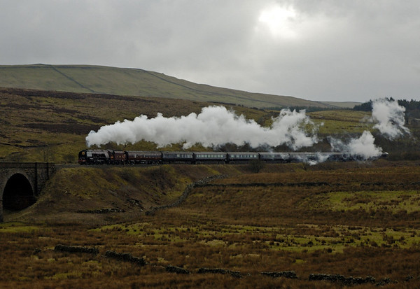 6233 Duchess of Sutherland, Garsdale, 22 March 2005 1.  Here are four shots of the Duchess taking Prince Charles over the Settle & Carlisle line, seen here leaving Garsdale.