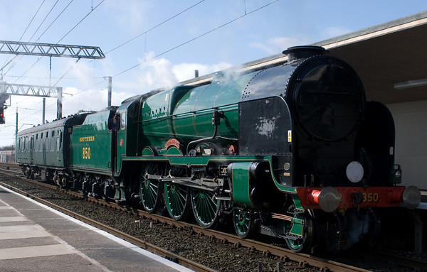 850 Lord Nelson, 5Z50, Carnforth, 7 March 2007 - 1221.  Lord Nelson runs into Steamtown after arriving two hours late from the ELR for a loaded test run of the Carnforth - Hellifield - Blackburn - Preston - Carnforth circuit.
