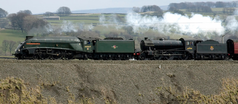 60009 Union of South Africa & 61994 The Great Marquess, 5Z91, Greenholme, 6 April 2007 - 1243 1.  The two Gresley locos race up Shap with a single support coach en route from Crewe to Mossend and a new home in Scotland.