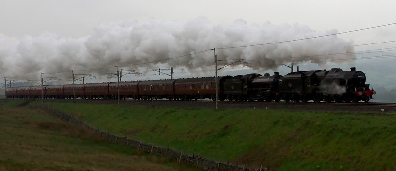 45231 Sherwood Forester & 62005 get the Jacobite season under way with the annual movement of locos and coaches from Carnforth to Fort William, seen at gloomy Scout Green on 16 May.