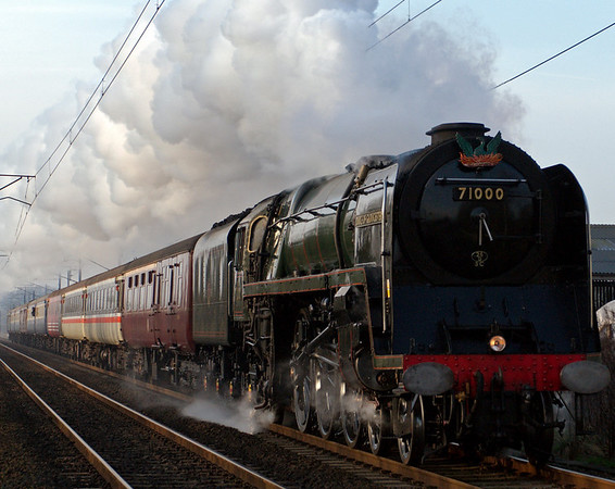 71000 Duke of Gloucester, 1Z46, Carnforth, 9 February 2008 - 0922   The driver has just closed the regulator as the Duke approaches Carnforth with the Railway Touring Co's Cumbrian Coast Express from Leeds to Carlisle via Workington and back via Shap.  71000 worked the train from and to Preston.  This was its second main line run after it failed near Penrith in June 2007.