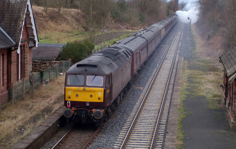 47826, 1Z13, Cumwhinton, 23 February 2008 - 1442    47804 and 47826 worked the 'Pennine Limited' from Hereford to Hellifield, and Carnforth to Hereford.  6201 ran light from the ELR to Hellifield, where it replaced 47804, which then ran light to Carnforth.  47826 stayed on the train, which is seen passing the remains of Cumwhinton Station, closed as early as 1956.