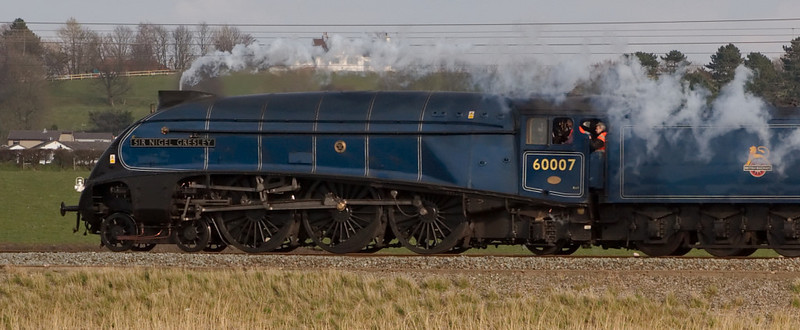 60007 Sir Nigel Gresley, 5Z23, Hest Bank, 16 April 2008 - 1722      The A4 heads for Carnforth 95 minutes early.