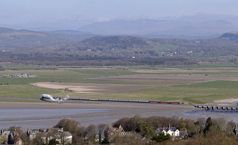 60163 Tornado, 1Z73, Arnside Viaduct, Wed 14 April 2010 3 - 1012    Patches of snow can just be seen on Fairfield in the far distance.