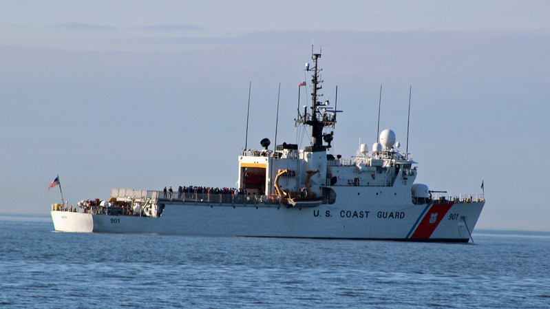 Our local Coast Guard cutter in cermony and watching our race.