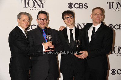 """Winners of the Best Musical Revival - """"Hedwig and the Angry Inch"""" John Cameron Mitchell (playwright), Michael Mayer (Director), Stephen Trask ( composer & lyricist), David Binder (producer) photo by Rob Rich/SocietyAllure.com © 2014 robwayne1@aol.com 516-676-3939"""