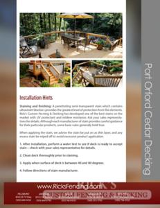 Rick's Cedar Decking Brochure