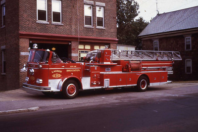 1967 Seagrave 85' aerial. When this truck was delivered to the city it was lettered Ladder 1. It was housed in a single truck station. In 1983 this truck had a cab installed and the pump removed. It continued to service the city as Ladder 1 during the early 1990's. The aerial itself still serves the city as Ladder 4 some 42 years later.