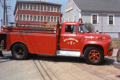 Engine 7, 1957 Ford/Gannett. Was purchased by the city when route 24 was opened as a water suppy truck. This piece was used as a second section to Squad A and ran on all Box Alarms in the city until the mid 1970's