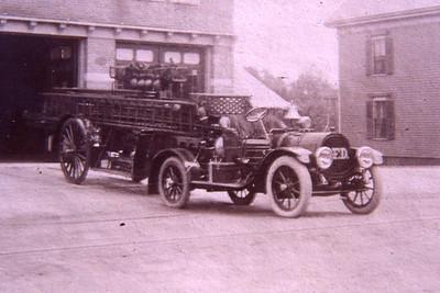 Ladder 3, 1916 Pope Hartford tractor, 1898 city service ladder.