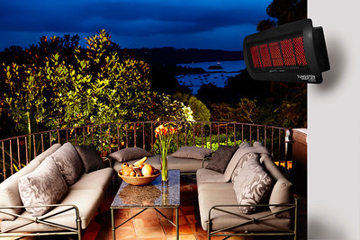 Tungsten Radiant Patio Heater from Bromic.  Shown:  Five burner.  Also available in three burner.