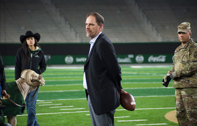 Mike Bobo speaks before handing off the Border War game ball for the 50th annual Bronze Boot relay at CSU's on-campus stadium on Friday, November 3, 2017.