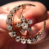 1.40ctw Victorian Rose Gold Crescent and Star Ray Brooch/Pendant 20