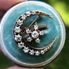 1.40ctw Victorian Rose Gold Crescent and Star Ray Brooch/Pendant 8