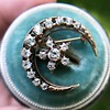 1.40ctw Victorian Rose Gold Crescent and Star Ray Brooch/Pendant 9