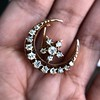 1.40ctw Victorian Rose Gold Crescent and Star Ray Brooch/Pendant 13
