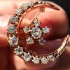 1.40ctw Victorian Rose Gold Crescent and Star Ray Brooch/Pendant 3