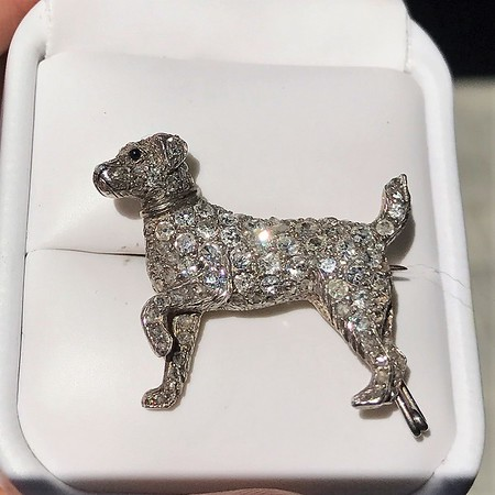 1.85ctw Art Deco Dog Brooch