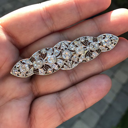 4.40ctw Edwardian Diamond Brooch