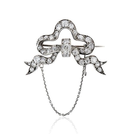 5.20ctw Victorian Bow Motif Diamond Brooch