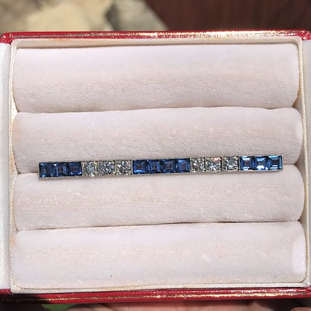 5.45ctw Vintage Diamond and Sapphire Bar Brooch