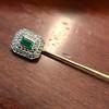 Art Deco Emerald and Diamond Pin, French 23