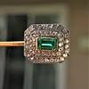 Art Deco Emerald and Diamond Pin, French 13