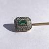 Art Deco Emerald and Diamond Pin, French 8