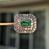 Art Deco Emerald and Diamond Pin, French 0