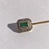 Art Deco Emerald and Diamond Pin, French 19