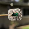 Art Deco Emerald and Diamond Pin, French 12