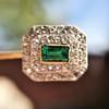 Art Deco Emerald and Diamond Pin, French 9