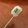 Art Deco Emerald and Diamond Pin, French 24