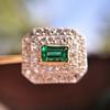 Art Deco Emerald and Diamond Pin, French 6