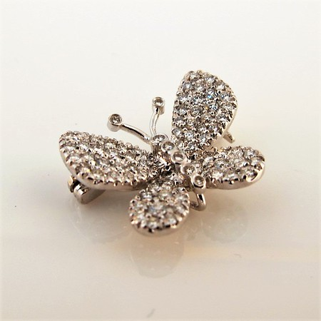 Petite Butterfly Pave Diamond Brooch