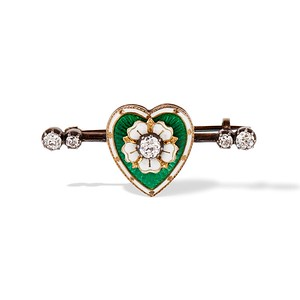.45ctw Victorian Heart Diamond and Enamel Pin