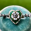 .45ctw Victorian Heart Diamond and Enamel Pin 4