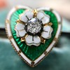 .45ctw Victorian Heart Diamond and Enamel Pin 9