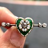 .45ctw Victorian Heart Diamond and Enamel Pin 7