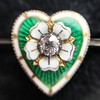 .45ctw Victorian Heart Diamond and Enamel Pin 5