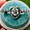 .45ctw Victorian Heart Diamond and Enamel Pin 10