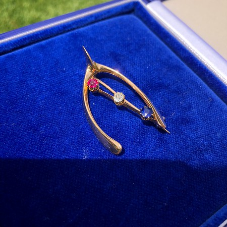 Victorian Diamond, Ruby, and Sapphire Wishbone Brooch