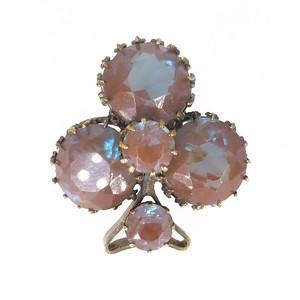 Antique Edwardian Saphiret Glass Clover Brooch サフィレット