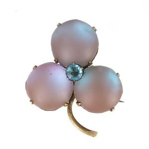 Antique Edwardian Czechoslovakian Saphiret Glass Clover Brooch